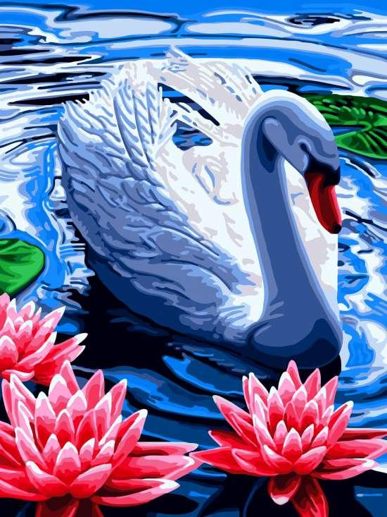 Картина по номерам 30x40 Лебедь и лотосы